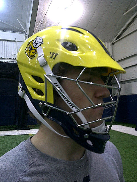 Michigan Lacrosse Wolverine Helmet Side View