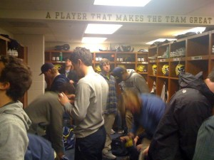 University of Michigan Wolverine lacrosse locker room